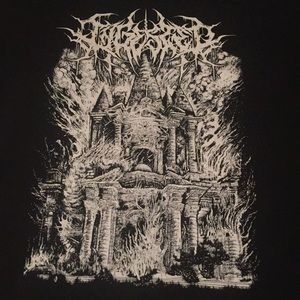 Ingested double sided band tee w/ a burning house